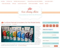 Two Classy Chics hosting a review and giveaway of SunZone sunscreen.