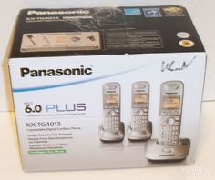 PANASONIC DECT 6.0 PLUS 3 CORDLESS HOME PHONE SYSTEM KX-TG4013 ELECTRONICS USED #Panasonic