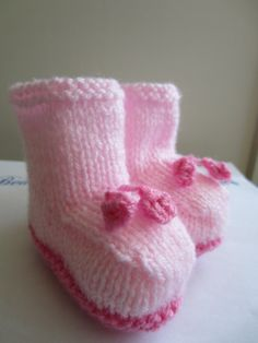 Pink Baby Booties Knitted  Newborn to 3 months by beausbitsandbobs, £8.99
