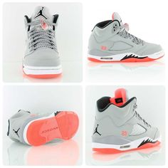 This sneaker is pure fire! Air Jordan 5 Retro GG 'Hot Lava'. Jordan is heating up for summer. A ladies exclusive featuring Wolf Grey and Hot Lava.