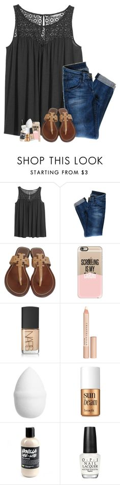 """""""Having a positive attitude really does help✌"""" by hailstails ❤ liked on Polyvore featuring H&M, Hudson Jeans, Tory Burch, Casetify, NARS Cosmetics, Chantecaille, Benefit and OPI"""