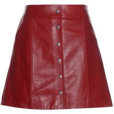 Isabel Marant, Étoile Kais Leather Miniskirt (€615) ❤ liked on Polyvore featuring skirts, mini skirts, red, red leather mini skirt, mini skirt, red mini skirt, short skirts and short red skirt