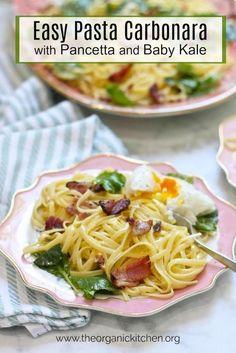 Pasta Carbonara pasta recipe with Baby Kale and Poached Eggs! Healthy Pastas, Healthy Recipes, Free Recipes, Healthy Grains, Healthy Dinners, Egg Recipes, Delicious Recipes, Recipies, Creamy Pasta Recipes