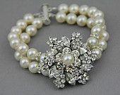Bridal bracelet. #Vintage wedding style crystal pearl #wedding cuff brooch #bracelet, http://www.finditforweddings.com