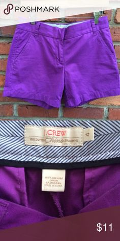 J Crew Shorts Purple- 100% Cotton- like new condition- Inseam - 5 inches J. Crew Shorts