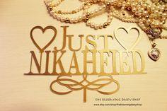 Islamic Wedding cake topper-Muslim Wedding cake topper-Nikahfied cake topper-Marriage/Nikkah cake topper-Nikkah decor-Nikah Cake decor-Gold by TheBloomingDaisyShop on Etsy
