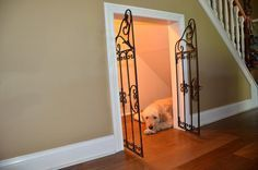 Dog House Under the Stairs Hubby is definitely going to try this as soon as we can. Going to be shopping craigslist & other sites for a gate.**techgirl