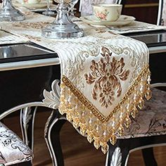 Amazon.com: Ethomes European Style Classical Relief Sculpture Jacquard Weave Table Runner for Dinning/Tea Table and TV Set with Handmade Pendant Beige 72 inch approx: Home & Kitchen Dining Table Cloth, Table Runner And Placemats, Table Runners, European Fashion, European Style, Christmas Tree Decorations, Table Decorations, Wedding Tablecloths, Idee Diy