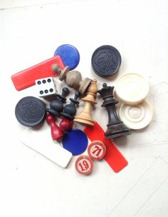 20 Vintage Game Pieces or Tokens  Chess by MyVintageSupplies