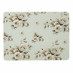 Katie Alice Set of six turquoise spotted floral rectangular place mats- at Debenhams.com