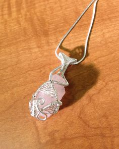 Sterling silver wire wrapped rose quartz healing crystal jewelry