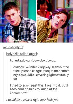 "In the words of a drunken Castiel, ""don't ask stupid questions""..."
