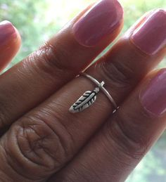 Feather Ring Silver Midi Ring Above Knuckle Ring by PrettyandBling, £7.99