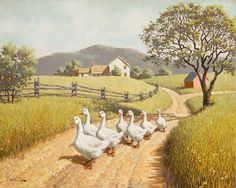 Farm Paintings, Landscape Paintings, Country Art, Country Life, Farm Lifestyle, Photo Vintage, Country Scenes, Jolie Photo, Bird Art