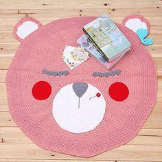 VClife® Baumwolle Strick Kinderteppich Kinderzimmer Babyzimmer Boden Dekoartikel Ausflug Wiese Strand Teppich Kinder Baby Geschenk Süß Bär 90 x 90cm