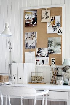 Home office inspiration pin board Decoration Inspiration, Room Inspiration, Small Workspace, Desk Space, Home Office Decor, Home Decor, Office Ideas, Home And Deco, Shabby Chic Homes