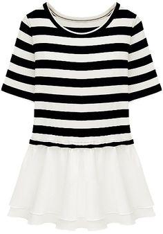 Black White Striped Short Sleeve Ruffles T-Shirt