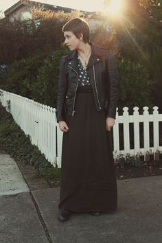 long skirts, plus this vintage biker's jacket...I would totally rock this...yeh.
