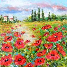 Karen's Fine Art Tuscany Poppy Field Landscape painting – Gallery Represented Modern Impressionism in oils Title: Field of Dreams Original oil