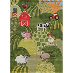 @Overstock - This Momeni rug sports a cute and quirky pattern of farm-themed characters and motifs. This rug features hand-carving for added texture and a vibrant color palette to make it as fun as it is unique.  http://www.overstock.com/Home-Garden/Momeni-Lil-Mo-Barnyard-Rug/7334627/product.html?CID=214117 USD              80.36