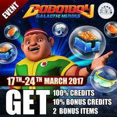 Hai BoBoiBoy Friends  Pre-Registrasi BoBoiBoy Galactic Heroes telah resmi di buka! Gabung bersama BoBoiBoy dan teman-temannya melintasi angkasa untuk menyelematkan Dunia  More Info: https://www.facebook.com/BoBoiBoyGalacticHeroes/