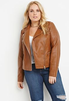 Plus Size Topstitched Faux Leather Jacket | Forever 21 PLUS - 2000158295