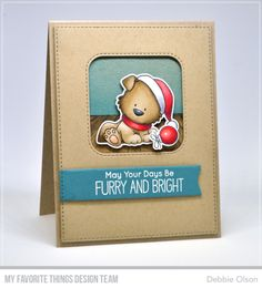 MFT_Happy-Pawlidays2b_Deb-Olson. Happy PawlidaysandHappy Pawlidays Die-namics  Cardstock:Kraft,Tropical Teal,X-Press It Blending Card  Ink:Black Licorice Hybrid Pad  Die-namics:Blueprints 27,Inside and Out Stitched Rounded Square STAX,A-2 Stitched Rectangle Stax set 2  Copic Sketch markers: all colors listed on second picture  X-Press It Foam Tape  Tombow Mono Glue