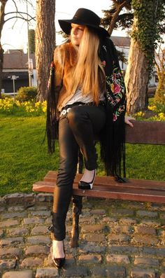 Floppy Hat, Embroidered Tassel Shawl. Leather Trousers, Cowboy Belt, Monochrome Patent Aldo Heels, Dublin Park, Blog Style, Whisty