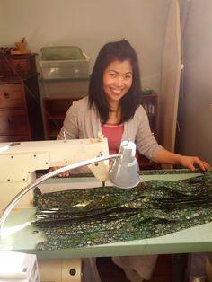 Cris in the studio working on a production run of Forest Green Batik #CoolingTies #handmade #madeincanada