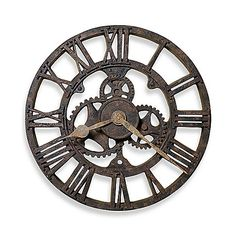 This wall clock has the character of a well-worn, stately clock in a long-ago train station. Aged-look hour and minute hands, as well as exposed gears, add to the mystique.