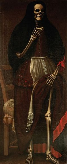 A skeleton dressed as a woman Oil painting, Spain, c.1680 warning of the dangers of fornication