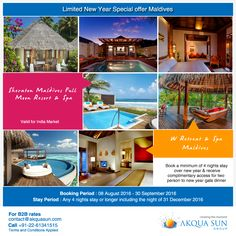 Limited New Year Special offer Maldives Sheraton Maldives Full Moon Resort & Spa W Retreat & Spa Book a minimum of 4 nights stay over new year & receive complimentary access for two person to new year gala dinner Booking Period : 08 August 2016 - 30 September 2016 Stay Period : Any 4 nights stay or longer including the night of 31 December 2016 Valid for Indian Market Only For B2B bookings mail us at contact@akquasun.com or call us +91-22-61341515 #traveloffers #travel #holidays #resort