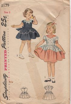 1940's Child's Dress Simplicity 3179 Size 3 Breast 22 by HelaQ, $10.00