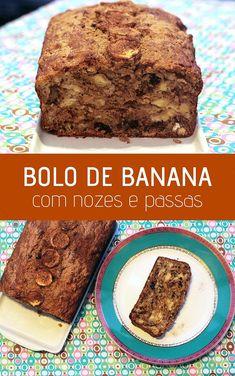 Bolo de banana com nozes e passas, uma receita fácil de fazwer e simplesmente deliciosa. Um bom bolo perfeito para o café da manhã, lanche da tarde e muito mais. Bananas, Banana Bread, Brownies, Low Carb, Cakes, Cooking, Desserts, Banana Nut Cake, Yummy Recipes