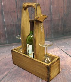 Rustic Wood Wine Caddy Wooden wine bottle and glasses holder Carrier Tote with opener corkscrew House warming Wedding Gift Country Beer Caddy, Wine Caddy, Wine Glass Holder, Wine Bottle Holders, Bottle Rack, Diy Bottle, Diy Christmas Baskets, Wine Carrier, Wine Craft