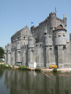 The Gravensteen or Castle of the Count, in Dutch, is one of the major tourist attractions in Ghent, Oost-Vlaanderen, Belgium. The castle gets its name from the fact that it was the residence of the Counts of Flanders until the 14th century. by twiga_swala