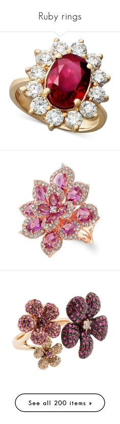 """""""Ruby rings"""" by thu-linh on Polyvore featuring jewelry, rings, accessories, no color, 14k rose gold ring, rose gold oval ring, oval stone ring, diamond rings, oval ring and rose gold pink sapphire ring"""