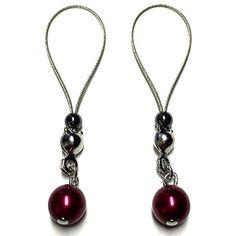 Nipple Jewelry Noose Rings Czech Pearl Silky Red #nipplerings #nipples #nipplenoose #bodivas