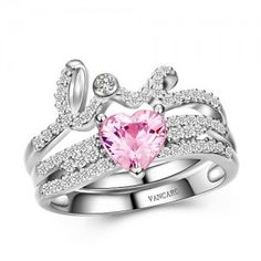 Love and Heart Design Pink Diamond Ring Set