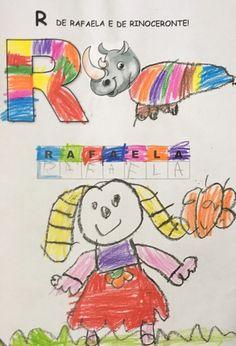 Atividade trabalhando a letra R a partir da inicial da criança, associando-a à inicial de um animal. Snoopy, Animal, Crafts, Fictional Characters, Literacy Activities, Letters Of Alphabet, Initials, Identity, Dads