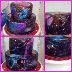Galaxy cake, for Alonzo's Birthday.  Painted on fondant using white food color mixed with gel colors. -M.K.