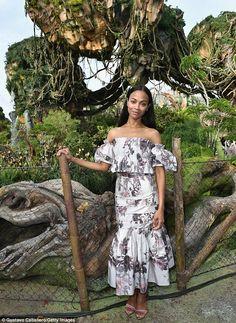 ' On Wednesday, Zoe Saldana got a sneak peek at Pandora - The World of Avatar at Disney's Animal Kingdom in Bay Lake ahead of the official opening Saturday Zoe Saldana, Star Fashion, Fashion Show, Vanity Fair Oscar Party, Costume Institute, Celebs, Celebrities, Red Carpet Fashion, Celebrity Style
