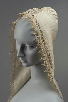Cream white linen gathered to form hood with two long pointed linen lappets edged with bobbin lace on top of hood and bands of cut work. The linen is spotted and stained. Historical Costume, Historical Clothing, Antique Lace, Vintage Lace, Ropa Interior Vintage, Lacemaking, Lace Veils, Crochet Lace, Crochet Edgings