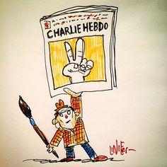 Cartum postado por Liniers em homenagem a Georges Wolinski, no Instagram