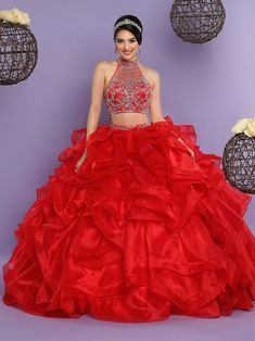 Bridesfamily Splendid Tulle & Organza Halter Neckline Two-piece Ball Gown Quinceanera Dress With Beadings 2 Piece Quinceanera Dresses, Prom Dresses, Wedding Dresses, Quinceanera Ideas, Gypsy Dresses, Ball Dresses, Sweet 15 Dresses, Quince Dresses, Mexican Dresses