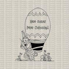 Easter Bunny Rabbit Basket Peter Cottontail Digital Download Digital Stamp Image Transfer Burlap Pillows Tea Towels Paper Crafts