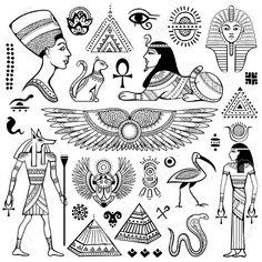 Conjunto de vector aislado símbolos y objetos Egipto