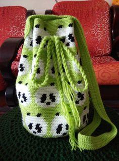 Crochet Lime Green Sling/Cross Body Bag. Panda Bag. by RainbowKnit