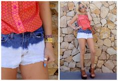 ♥ LOOK OF THE DAY 15-11-2012 ♥  ♥ Camisa sin Mangas Coral & Fucsia  ♥ Denim Short  ♥ Candy Sandals