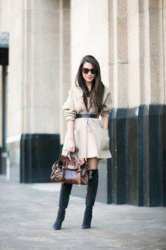 Cocoon :: Oversized coat & Leopard bag :: Outfit ::  Coat :: thanks to Armani Exchange! Dress :: Mason  Bag :: Mulberry Shoes :: Gianvito Rossi Accessories :: Karen Walker sunglasses, Casio watch, Monica Vinader bracelet thanks to Net-a-Porter! Published: January 11, 2015